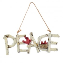 Birch Word Ornament - Peace