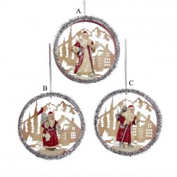 Red/Ivory Santa Disc Ornament