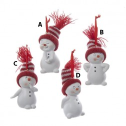 Snowman with Red/White/ Knit Hat Ornament