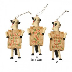 Chick-Fil-A Cow Funny Saying Christmas Ornament