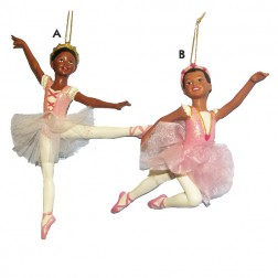 Black Ballerina Christmas Ornament