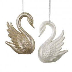 Gold or Silver Swan Christmas Ornament