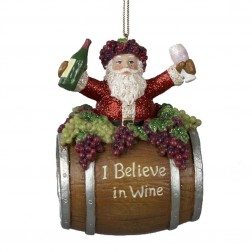 4-Inch Polyresin Santa on Wine Barrel Ornament