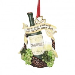 "Tuscan Winery Chardonnay  ""Wine and Friends Get Better with Age"" Christmas Ornament"