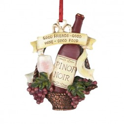 "Tuscan Winery Pinot Noir  ""Good Friends- Good Wine- Good Food"" Christmas Ornament"