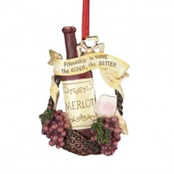 "Tuscan Winery Merlot ""Friendship & Wine - The Older, The Better"" Christmas Ornament"