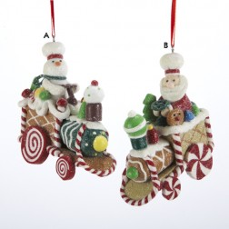 Gingerbread Kisses Snowman Candy Train Christmas Ornament