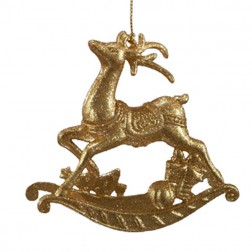 Gold Glittered Reindeer Ornament