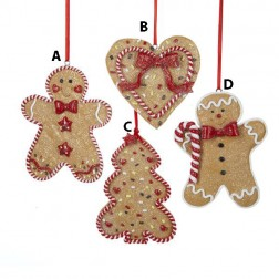 Gingerbread Men, Tree And Heart Ornament