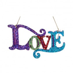 "Multi Colored Glittered ""Love"" Ornament"