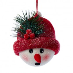 Fabric Snowman Head with Red Hat Ornament