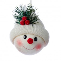 Fabric Snowman Head with White Hat Ornament