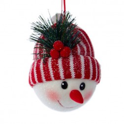 Fabric Snowman Head with Red/White Stripe Hat Ornament