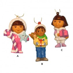 Dora the Explorer and Diego Blow Mold Christmas Ornaments