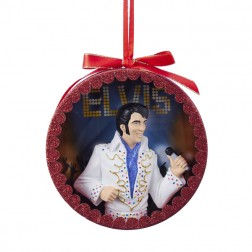 "Gold Glittered Elvis Presley ""The King"" White Jumpsuit Performance Shadow Box Christmas Ornament"
