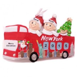New York Sightseeing Bus 2 Couple Ornament