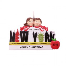 New York Word Couple Personalized Christmas Ornament