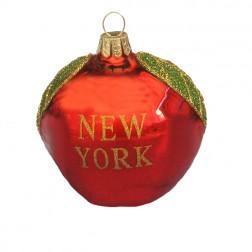"""Glass """"New York"""" Big Apple Christmas Ornament"""