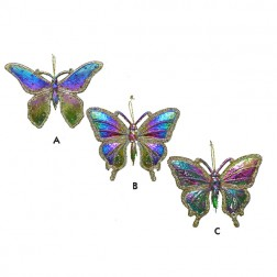 Rainbow Butterfly Glittered Ornament