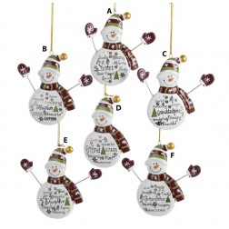 Family/Friend Snowman with Words Ornament