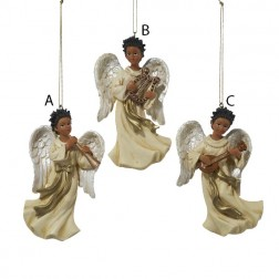African American Angel with Harp Christmas Ornament