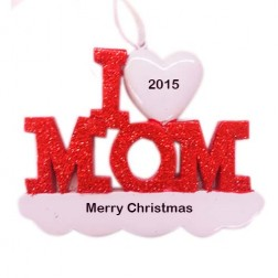 I Love Mom Personalized Christmas Ornament