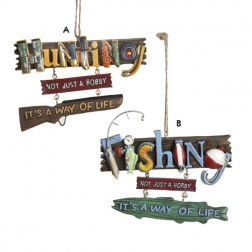 """Hunting"" and ""Fishing"" Object Letters Christmas Ornament"