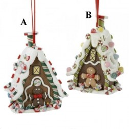 "4.5"" Claydough 3-D Gingerbread House Hanging Ornament"