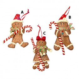 Gingerbread Boy or Girl with Candy Cane Ornament
