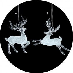 Icy Crystal Clear Frosted Majestic Reindeer Christmas Ornament