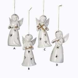 Porcelain LED Light Up Heart, Bird, Cross, Flute Angel Christmas Ornament