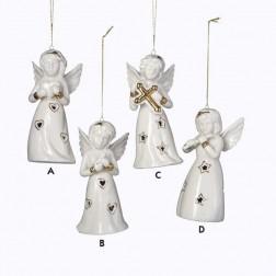 Porcelain LED Light Up Heart, Bird, Cross, Flute Angel Christmas Ornament