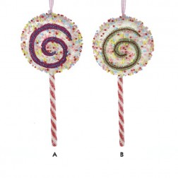 Hot Pink and Lime Green Lollipop Christmas Ornament