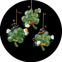 Luck of the Irish Smiling Shamrock Christmas Ornament