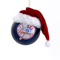 80MM Mlb Glass Yankees Ball With Hat Ornament