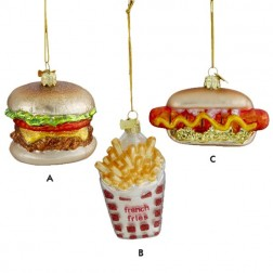 Glass Blown Hotdogs, Cheeseburgers & Fries Christmas Ornament
