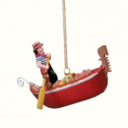 Venetian Gondola & Gondolier Hand Blown Glass Christmas Ornament