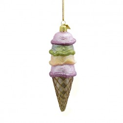 Gems Pastel and Gold Glitter Ice Cream Cone Glass Christmas Ornament
