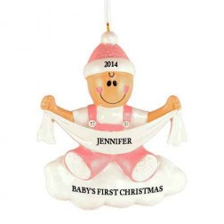 Baby with Ribbon Girl Personalized Christmas Ornament