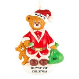 Santa Bear Christmas Personalized Christmas Ornament