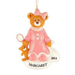 Santa Bear Girl Personalized Christmas Ornament