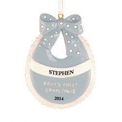 Baby Bib Boy Personalized Christmas Ornament