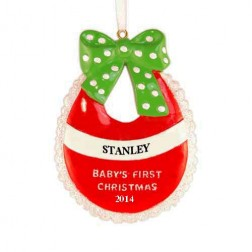 Baby Bib Christmas Personalized Ornament