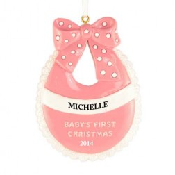 Baby Bib Girl Personalized Christmas Ornament