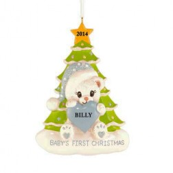 Santa Bear with Tree Boy Personalized Christmas Ornament