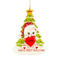 Santa Bear with Tree Christmas  Personalized Ornament