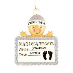 Baby Birth Certificate Boy Personalized Christmas Ornament