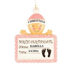 Baby Birth Certificate Girl Personalized Christmas Ornament