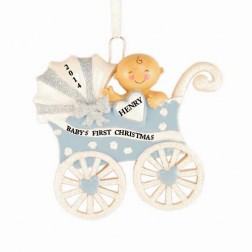 Baby Carriage Boy Personalized Christmas Ornament