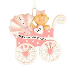 Baby Carriage Girl Personalized Christmas Ornament